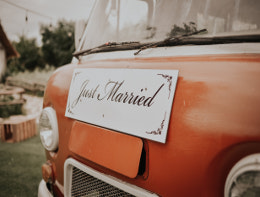 just married campervan sign