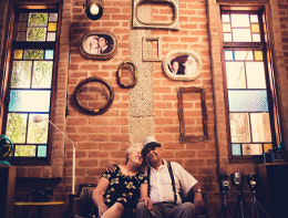elderly couple in old house
