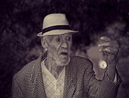 old man with watch