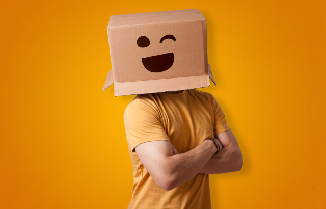 Man with amazon box on head